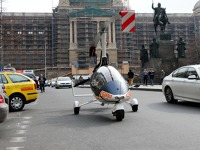 GyroMotion – a gyroplane that can fly as well as drive on regular roads. Pictured on Wenceslas Square in Prague here. Credit: AGN systems ltd.